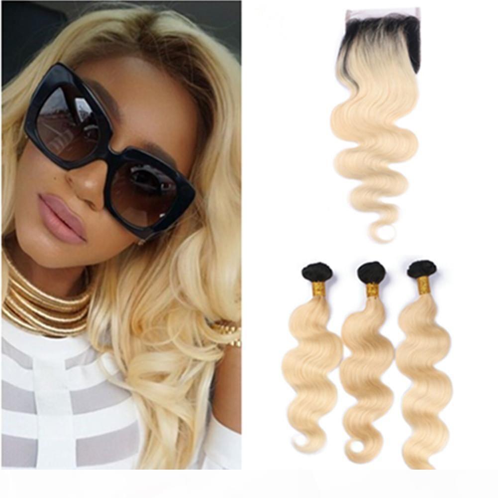 # 1b 613 Ombre Malasia ondulada cabello humano tejido de cabello con el cierre de la onda del cuerpo Ombre Rubio Human Hair 3bundles con cierre delantero de encaje 4x4