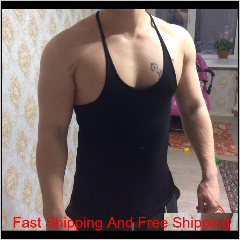 2020 New Men Gym Singlet Stringer Muscle Tank Tops Fitness Sport Shirt Mens Fitness Singlet Sleeveless qylNfc home2006