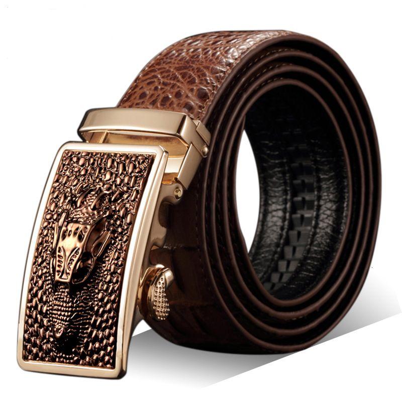 Cintura per fibbia automatica coccodrillo in pelle da uomo