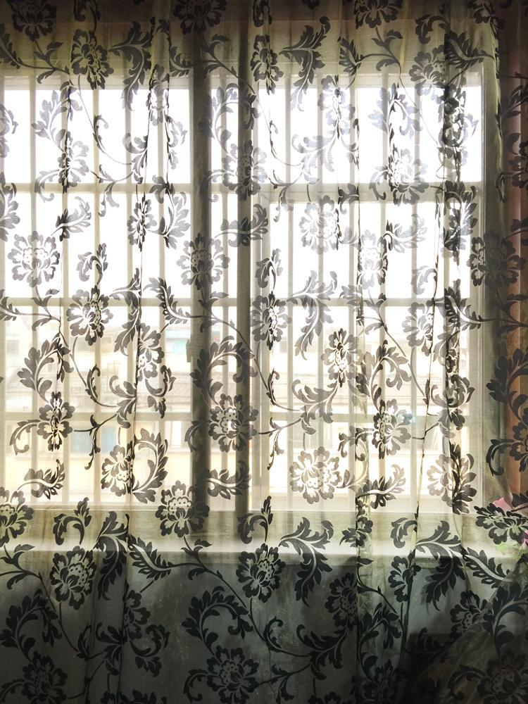 Curtain & Drapes Fashion FlowerEmbroidery Custom Made Finished Window Tulle Living Room Screening Home Decoration
