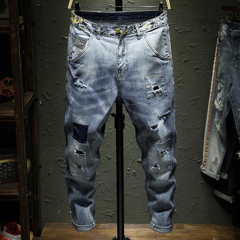 Hohe Qualität Stretch Denim Skinny Jeans Männer Streetwear Zerstörung zerrissene Jeans Homme Hip Hop Unterbrochene Patch Loch Bleistift Biker Hosen