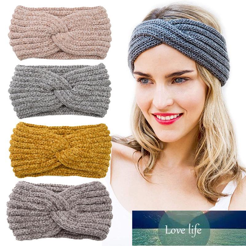 Otoño invierno ganchillo sólido tejer lana mujeres diadema tejiendo cruz hechos a mano DIY bandas de pelo caliente dulce chica accesorios para el cabello