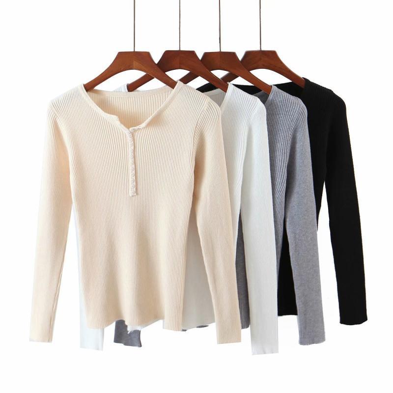 Frauenpullover Puwd Beiläufige Frau Solide Farbe Grundlegende Stretch-Strick-Tops 2021 Mode Damen Herbst V-ausschnitt Slim Pullover Weibliche Langarm