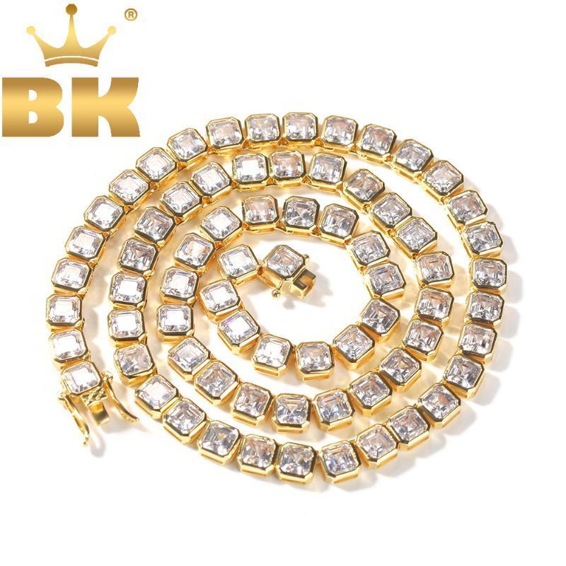 Ketten The Bling King 6,5mm Breite Gold Tennis Kette Armband Quadratische Steine Knochenform 1 Reihen Link Halskette Hiphop Schmuck Choker Geschenk