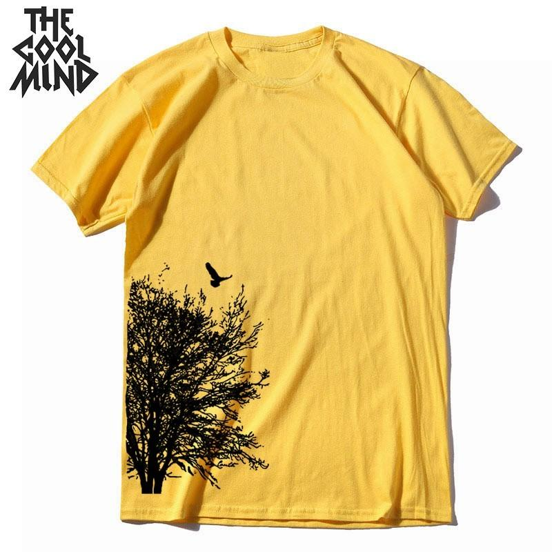 Coolmind 100% algodão de manga curta verão creativo árvore impressão homens camiseta homens loost casuais camiseta legal o-pescoço t-shirt camiseta c0308