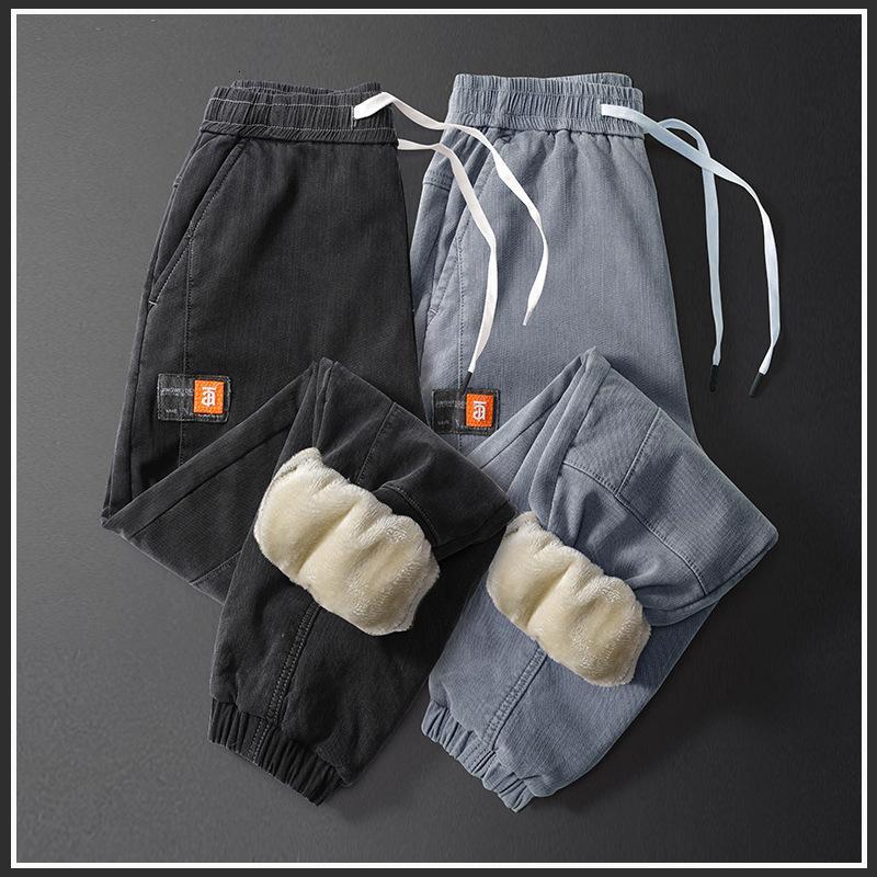 Peluche jeans caldo jeans uomo ispessoso corsetto di moda marchio Harlan Autunno e inverno allentati pantaloni casual dritti