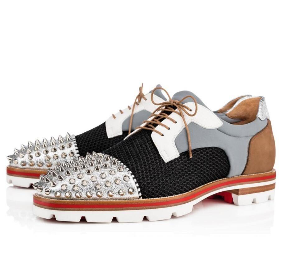 Отличный джентльмен красный нижний LUIS Derby Spikes Flath Loafers для вечеринок платье Sqaure Toe Lug Sole роскошный бизнес мокасин гуляя обувь