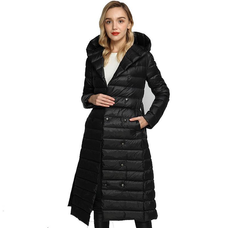 Winter Down Jacket Female With Belt Bandage Hooded White Duck Down Puffer Coat Women Ultra Light Long Parka Ladies Outerwear