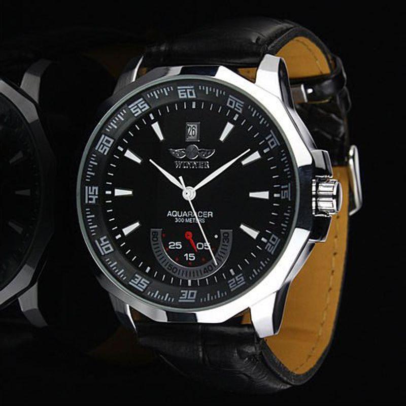 ¡NUEVO! Brand Logo Ganador Ganador Cuero automático Mecánico Cronógrafo Cronógrafo Reloj Hombres Reloj de cuero 30pcs / lot DHL Free Ship
