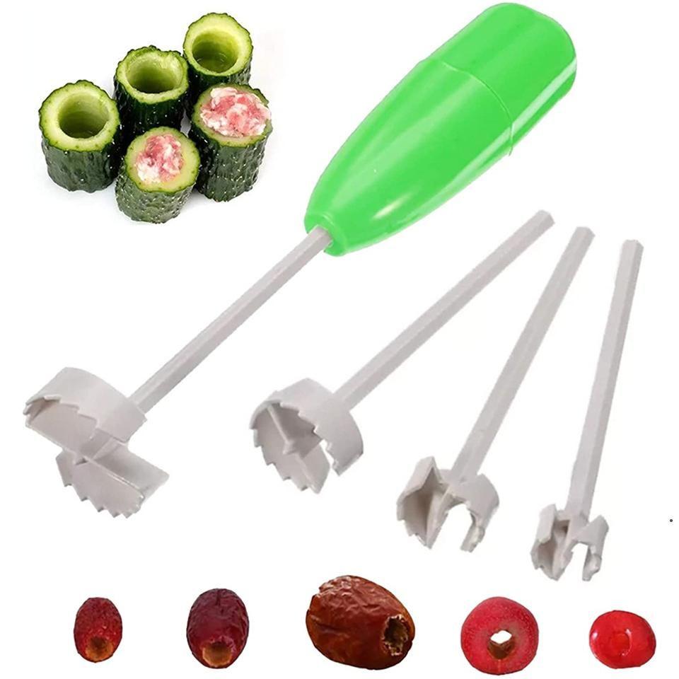 Practical 4Pcs/set Kitchen Tools Vegetable Spiral Cutter Digging Device Stuffed for Vegetable Fruit Corer Tools Spiralizer DHB5386