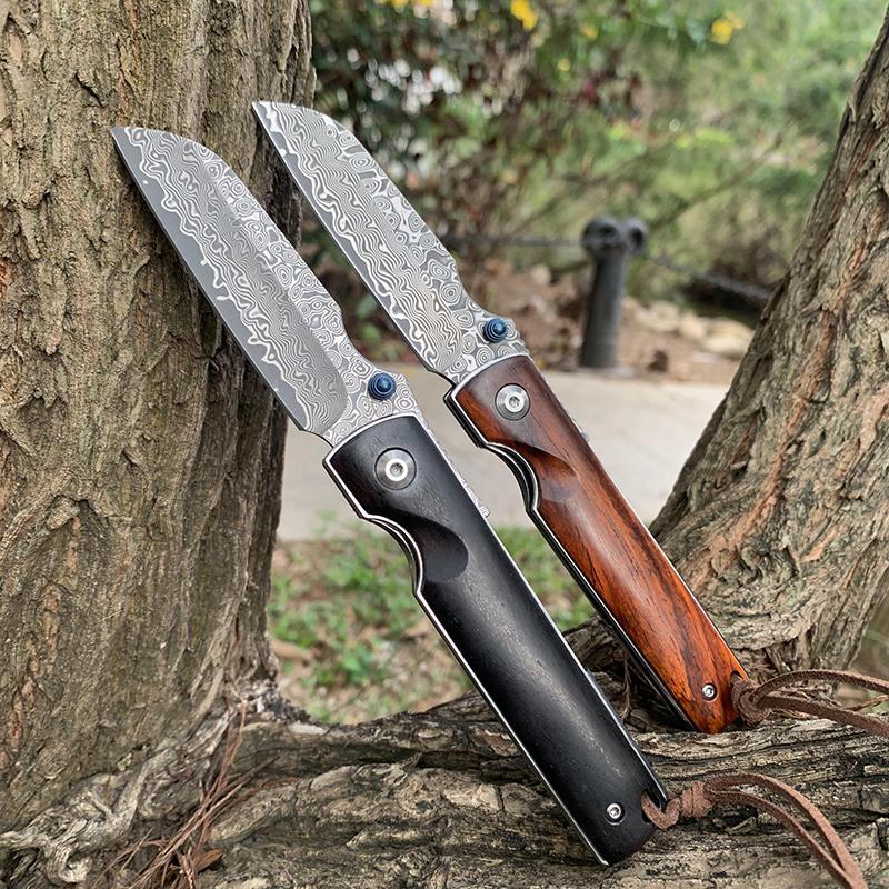 Samsend Handmade Klappmesser Ebenholz Holz / Sandelholz Griff 76 Schichten Damaskus Blade Outdoor Camping Selbstverteidigung EDC-Werkzeug