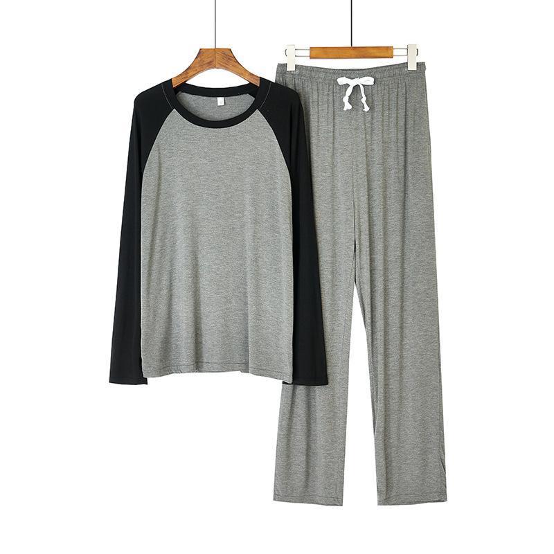 Мужские спящие одежды Мужские модальные пижамы набор черно-серых пэчворк 2 шт. Осенний сон мужской мягкий рыхлый русский