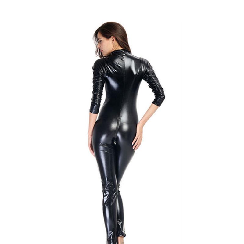 Tuta da donna Pagliaccetto Pagliaccetto Sexy Donne Collare Body PVC Tuta Tuta Prodotto Sesso Catsuit Bodycon Clubwear 88