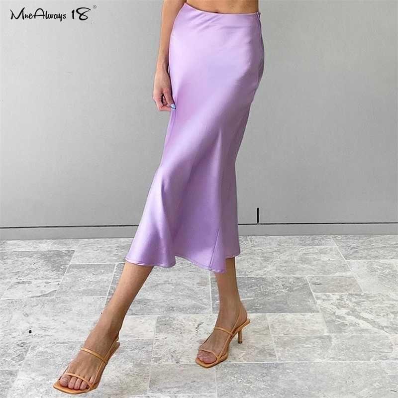 Purple Satin Mnealways18 Jupe en soie solide Femmes taille haute taille longue jupe longue 2020 élégante dames bureau jupes midi printemps midi