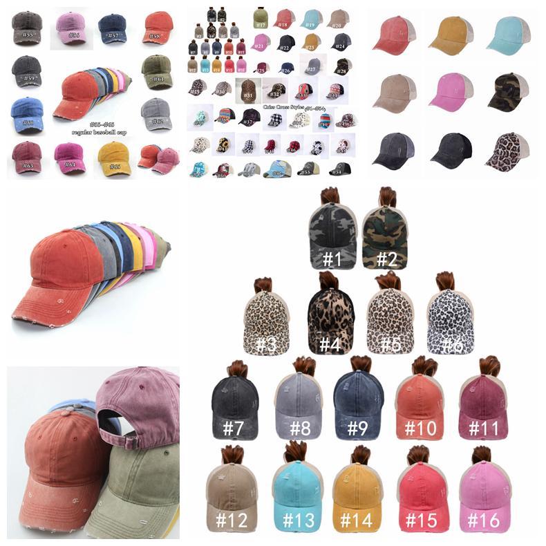 Ponytail sombrero 65 estilos lavados angustiados desordenados bollos de caballo ponycaps béisbol gorra leopardo girasol papá camionero malla sombrero al aire libre deporte ajustable sombreros zza