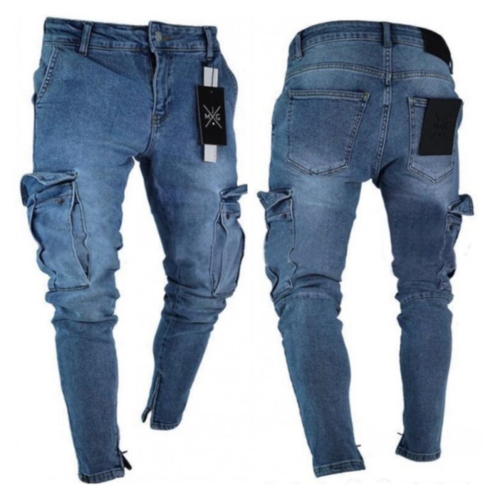Yeni Mens Jeans Sıkıntılı Yırtık Biker Kot Slim Fit Motosiklet Biker Denim Kot Moda Stilist Pantolon