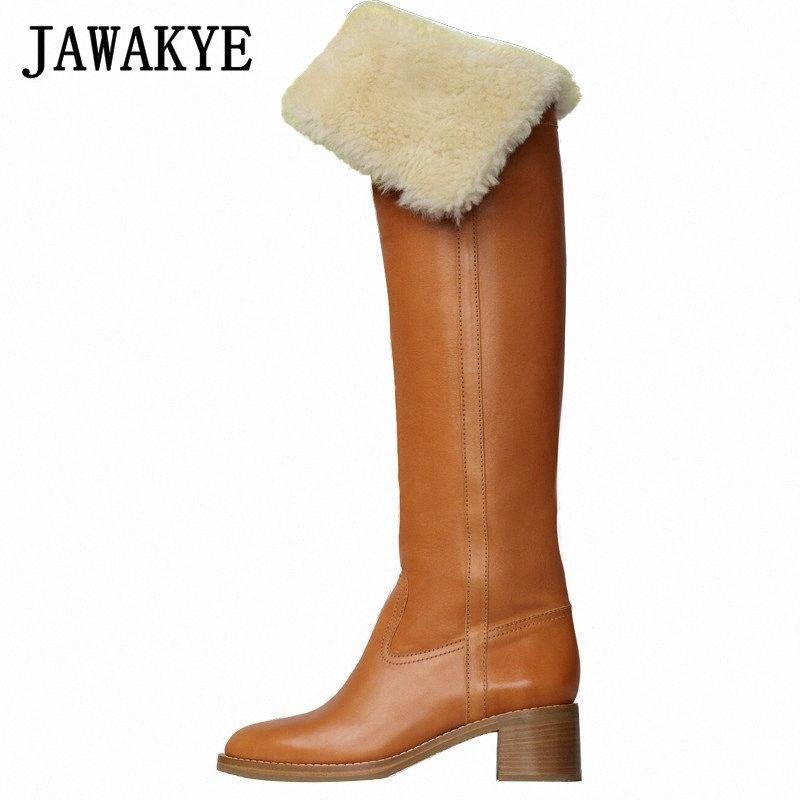 Nuovi agnelli in lana morbida pelle sopra il ginocchio stivali alti donne inverno pelliccia di pelliccia stivali da cavaliere rotolo caldo tacchi grosso in lana lungo inverno m4d1 #