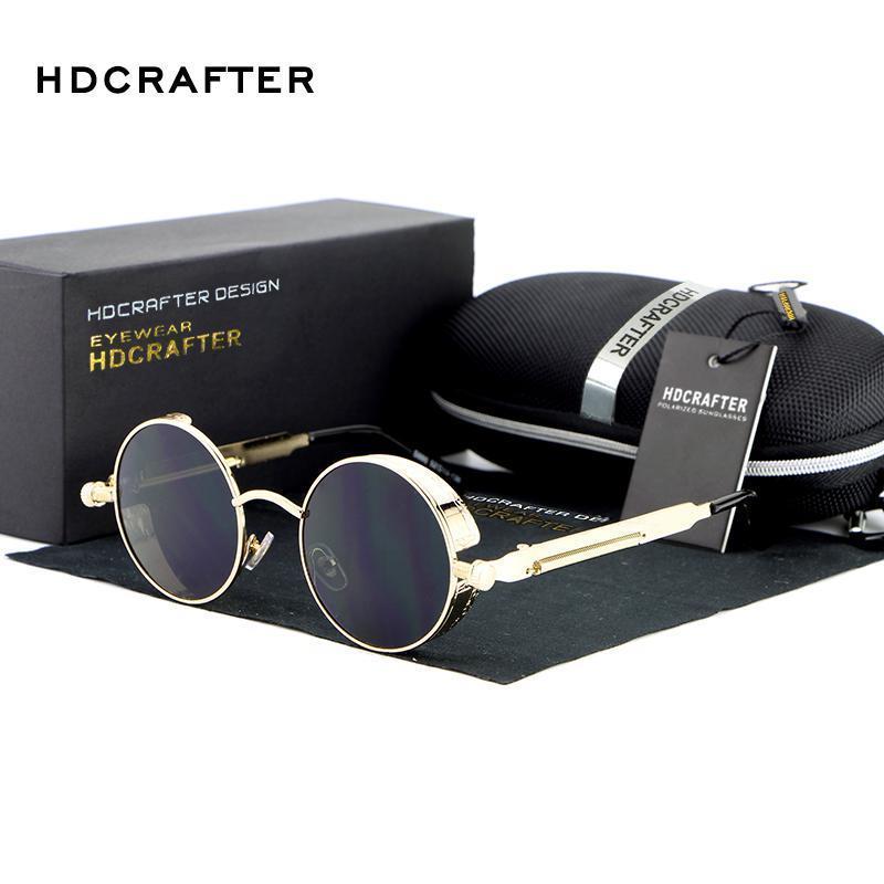 HDCRAFTER Retro Runde Metall Steampunk Gläser Designer Punk Für Vintage Dampf Sonnenbrille Sonne Polarisierte Männer Marke Hexbn