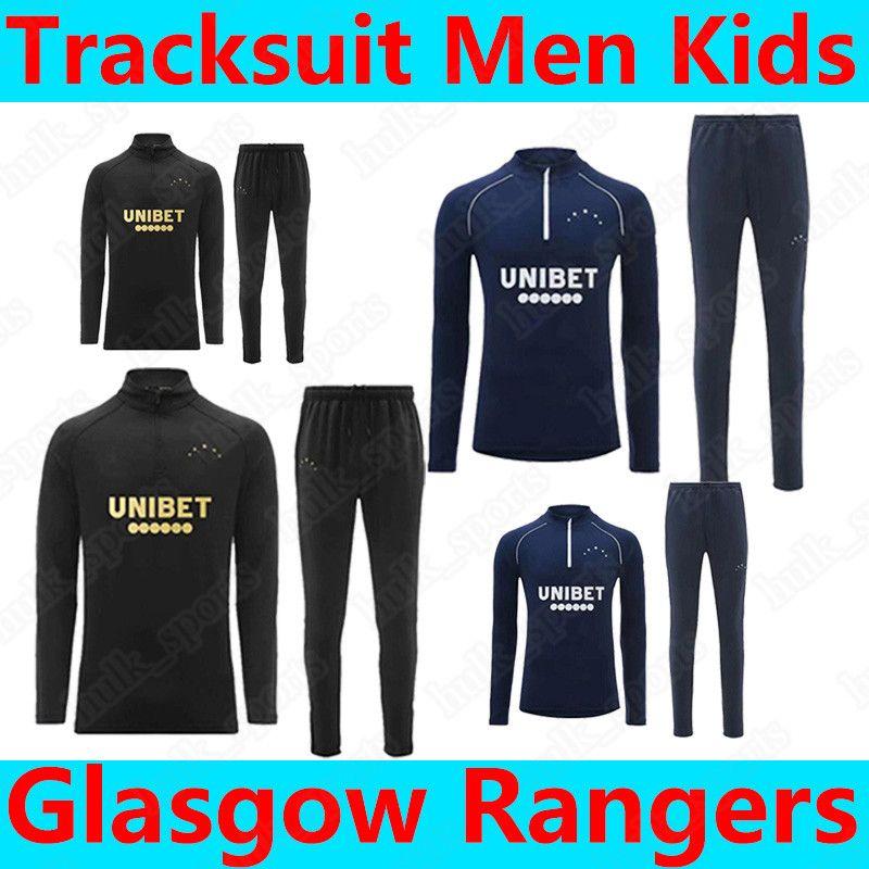 Glasgow Rangers Trainingsanzug Männer Überleben 2021 Defoe Hagi Morelos Kent Fussball Trikots Erwachsene Trainingsanzüge Trainingsanzug Fussball Hemden