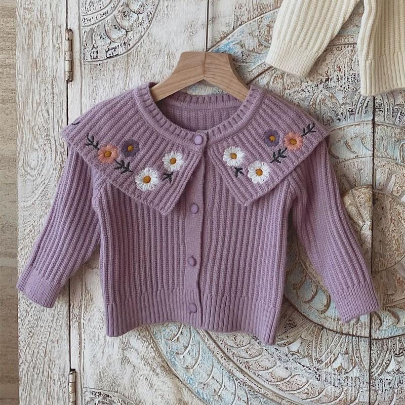 Outono inverno infantil de manga comprida flor bordado grande lapela knitwear meninas camisola malha cardigans crianças casaco outerwear 210202