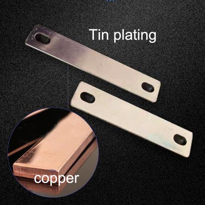10 STÜCKE Nickel plattierte rote Kupferbusleiste für Batterieanschluss 83mm Abstand 2mm Dicke