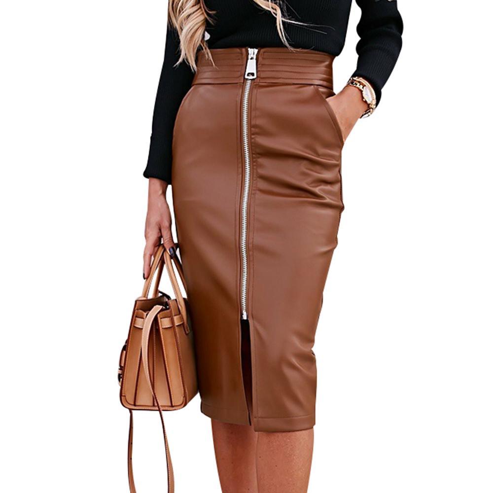 Elegante Faux Leather Couro Saia Frente Zíper Midi Saia Sexy Cintura Alta Split PU Couro Saias de Couro Pocket Envoltório Bodycon Skirt 210305