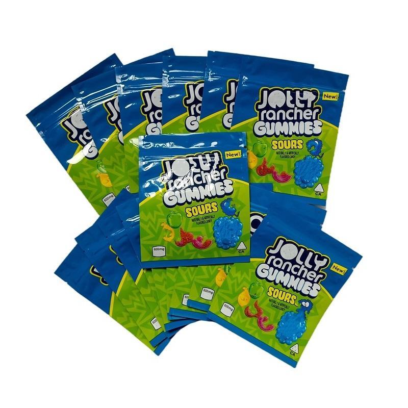 Bolsa de mylar embalaje comestible bolsa agridulce con cremallera olor a prueba de alimentos bolsas de embalaje de alimentos con nota de lágrima 500 mg azules 600 mg azul paquete de plástico protección de la protección del niño