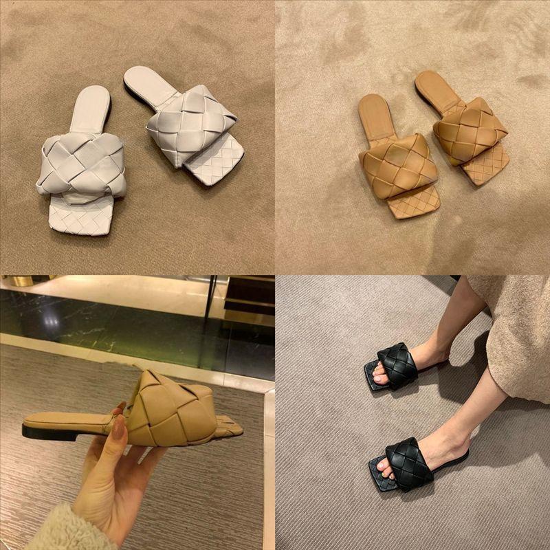 RQKFH женские металлические слайд тапочки роскошные дюги черные и бежевые вышитые тапочки хлопчатобумажные плоские песчаники высочайшего качества кожаный дизайнер