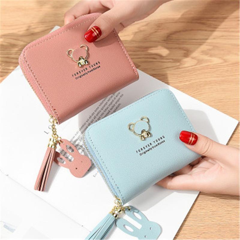 محافظ الأجهزة المحفظة الصغيرة الإناث لطيف الدب قصيرة سستة السيدات عملة محفظة اليابانية والكورية حقيبة يد حقيبة اليد الصغيرة