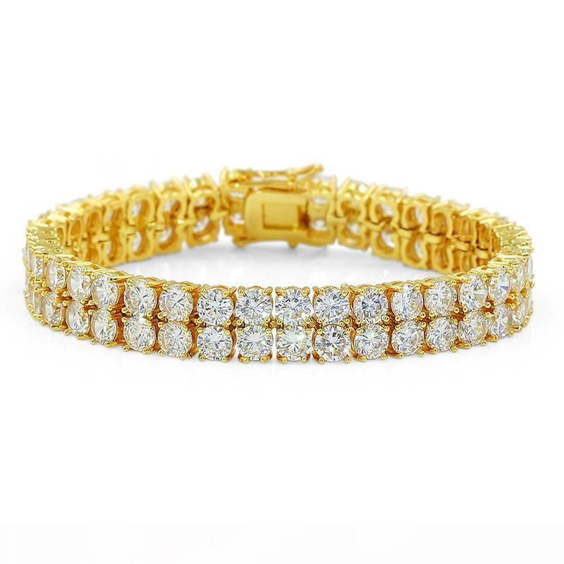 10mm Hip Hop White Zircon Bling Double Layers Tennis Bracelet 18k Gold Plated Men Women Bangle