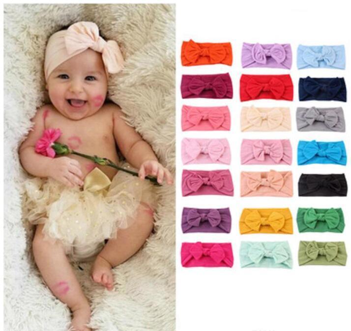 Baby Stirnbänder Böhmische Kinder Haarband Baby Bow Geknotete Haarband Feste Farbe Elastische Haarband