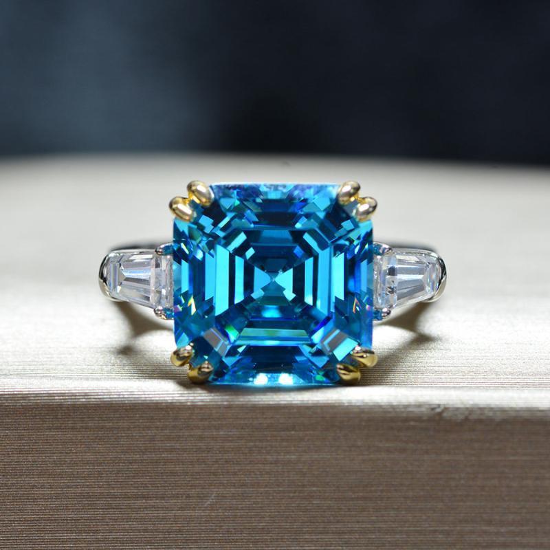 Anneaux de cluster classique 100% 925 Sterling Sterling Create Moissanite Aquamarine Citrine Saphir Party Party Mariage Femmes Femmes Bijoux fins