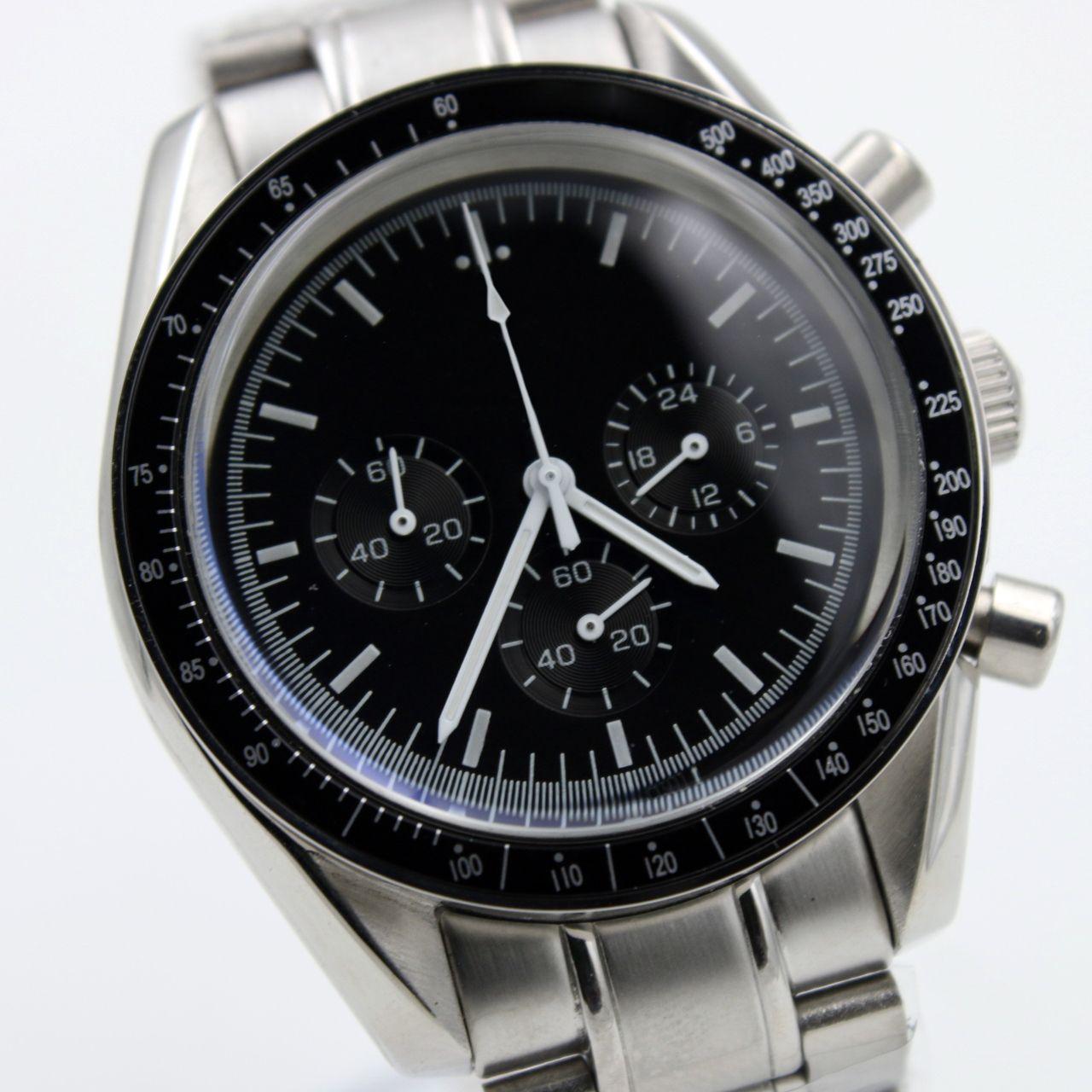 Haute Quartz Chronographe de chronographe de quartz Mens Montres Vitesse Lune Montres en acier inoxydable Fermoir en acier inoxydable Mens Montre-bracelet