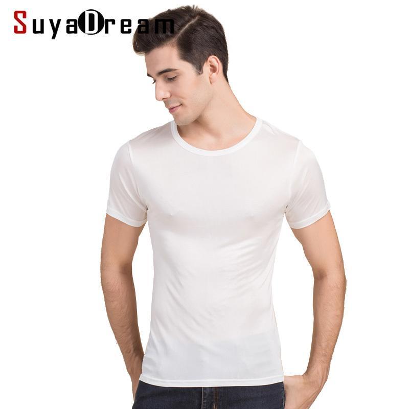 Suyadaream para hombre camiseta 100% natural seda sólido o cuello de manga corta camisa beige sólido blanco azul marino gris nuevo primavera verano top 210304