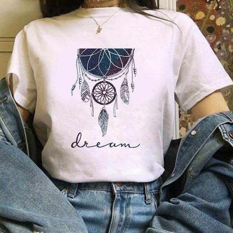 Damen T-Shirt Schöne Blume T-Shirt Dreamcatcher T-Shirt Harajuku Grafik Top Kawaii Streetwear Kurzarm Weibliche Drop Shipping