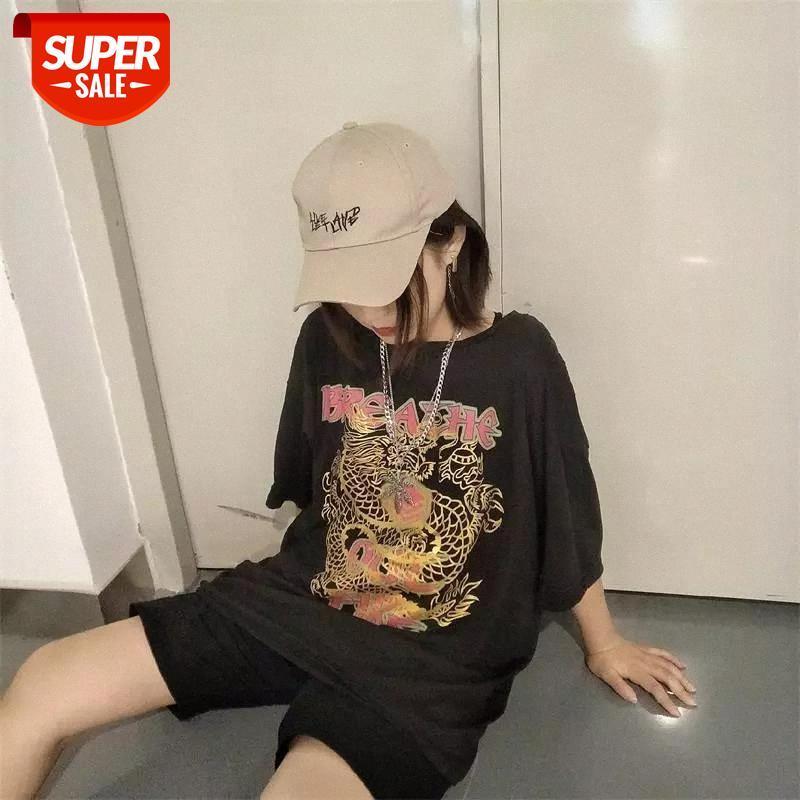 China Dragon Imprime camiseta StreeRewear Summer Japanese T Shirts Media manga O-Cuello Tes camisetas Muchacha Hip Hop Tops Causal Punk T Shirts # 3k4h