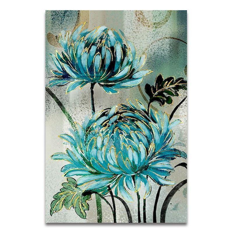 Peintures Gatyztory Blue Flowers Bricolage Peinture de bricolage par Numbers à la main Artwork Toile Coloriage Décor Accueil Décor Unique Cadeau Amusement à