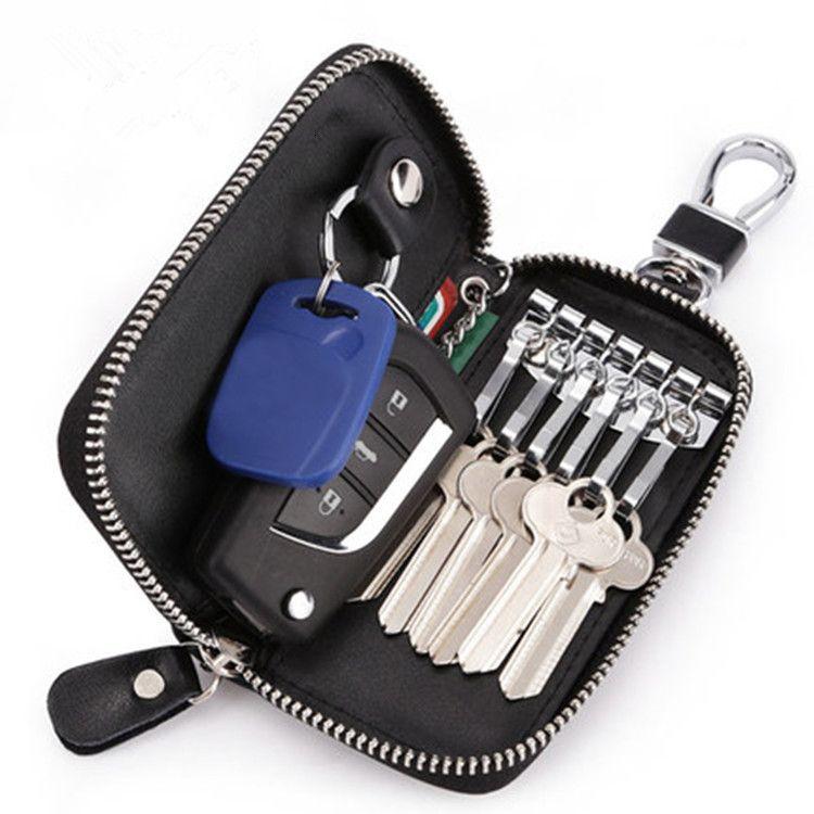 GRANGE JUE Grande capacité à glissière à glissière Taille Véritable Cuir Véritable Carte de carte Multi fonction Key Ring