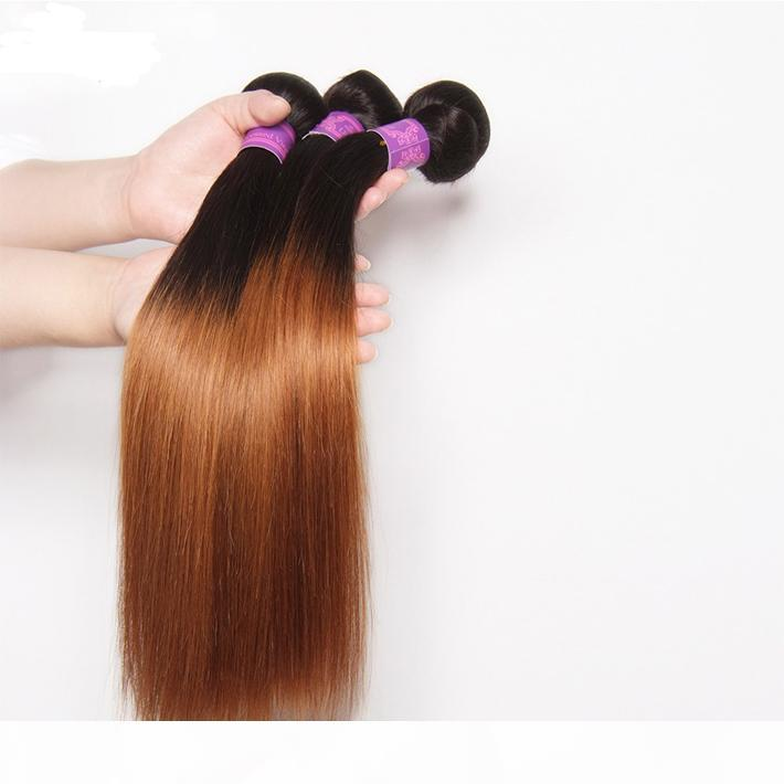 Perulu Bakire Düz İnsan Saç Örgüleri İki Ton 1B 30 Sarışın Demetleri Ucuz Koyu Kökler Orta Auburn Ombre Düz Saç Uzantıları