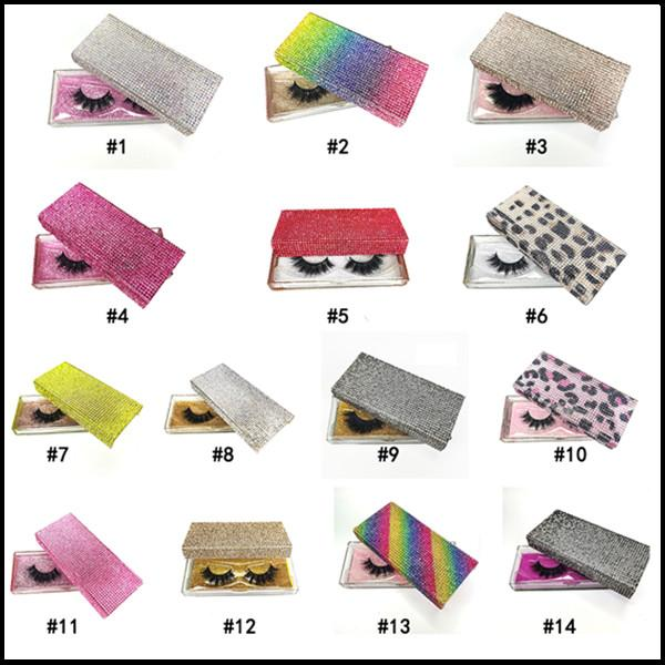 NEW 14 Styles Diamond Packing Box 3D Mink Eyelashes Empty Packaging Boxes Glitter Rhinestone Lashes Case Eye Lashes Plastic Boxes