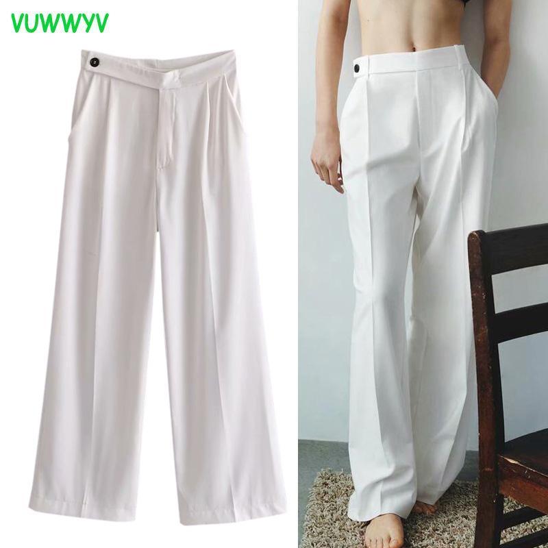 Frauenhose Capris ZA White Sweatpants Frauen Übergroßes breites Bein Frau 2021 Sommer Hohe Taille Straight Baggy Damen Y2K Streetwear