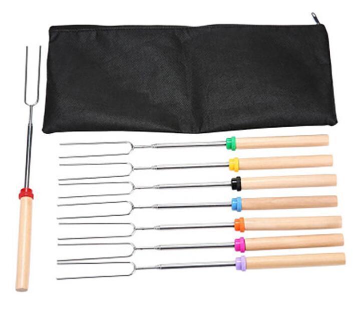 8 stück / set u Typ BBQ Gabeln Roasting Sticks-Set Lagerfeuer Edelstahl Holzgriff Teleskope Grill Röstgabel GWE7532