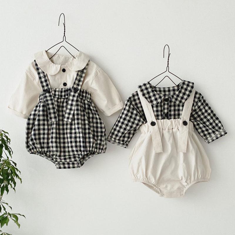 Новый 2021 Весна Осень Осень Дети Детские Мальчики Девочки Костюм Детская Сетка Сетка + Брекеты Rompers Детский Комплект Мальчиков Одежда для девочек