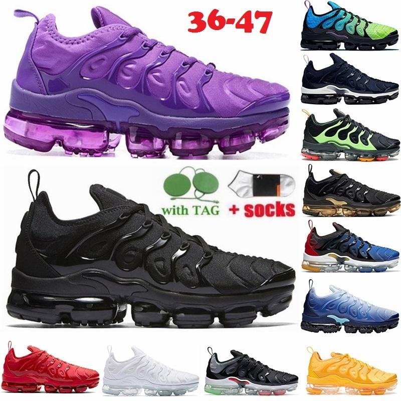 Big Size 13 Tn Plus Running Shoes For Men Women Top Quality Vapor Max TNS Sports Sneakers Triple Black White University Blue AM Shimmer Designer Trainers 36-47