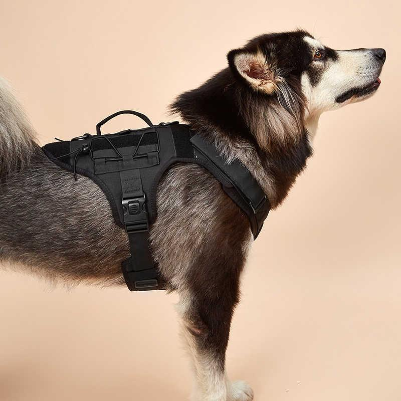 Tactical Dog Harness with 2 safety lock buckle,Working Dog MOLLE Vest with Handle,No Pulling Front Leash Clip