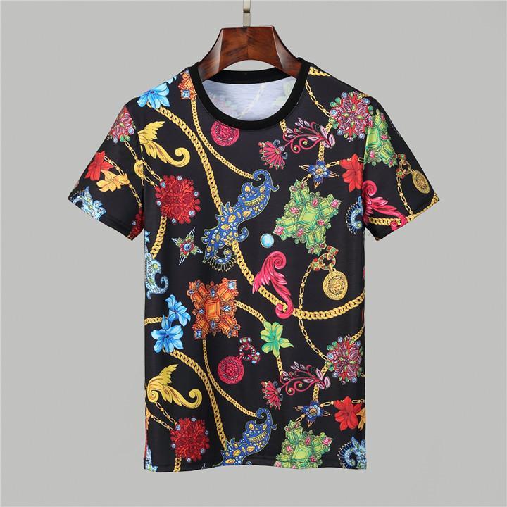 패션 편지 V 디자이너 망 티셔츠 # 008 Milano 여름 클래식 바로크 티셔츠 럭셔리 화이트 3D 인쇄 필수품 라벨이있는 캐주얼 의류