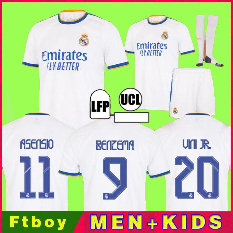 Real Madrid Maillots de football 21 22 HAZARD SERGIO RAMOS VINICIUS camiseta maillot de foot uniformes hommes + enfants enfant kits ensembles 2021 2022 de la soccer jerseys