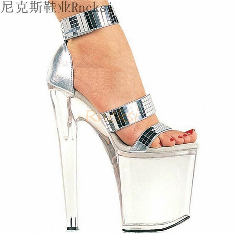 Сандалии RNCKSI 34-46 Мода Crossdresser Пряжка 20 см Тонкие каблуки Обувь Платформа Краска Кожа SM Женщина Насосы