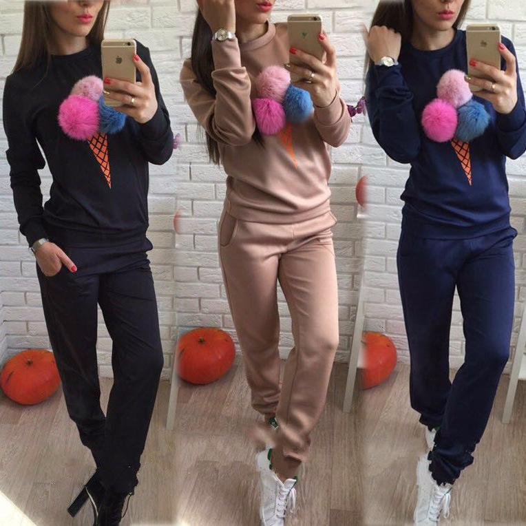 Осень и зима 2021 Новая женская мода меховой шар печатает спортивный досуг костюм для женщин