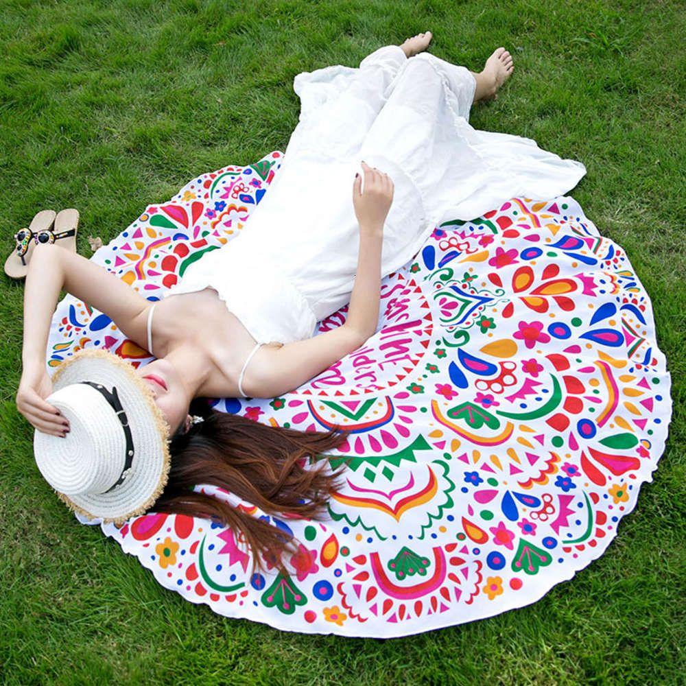Ветер Новое полотенце круглый пляж обернулся йога коврик шифон печать солнцезащитный крем шаль гобелен